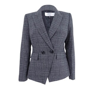 Tahari ASL Women's Petite Double-Breasted Plaid Jacket - Grey/Black