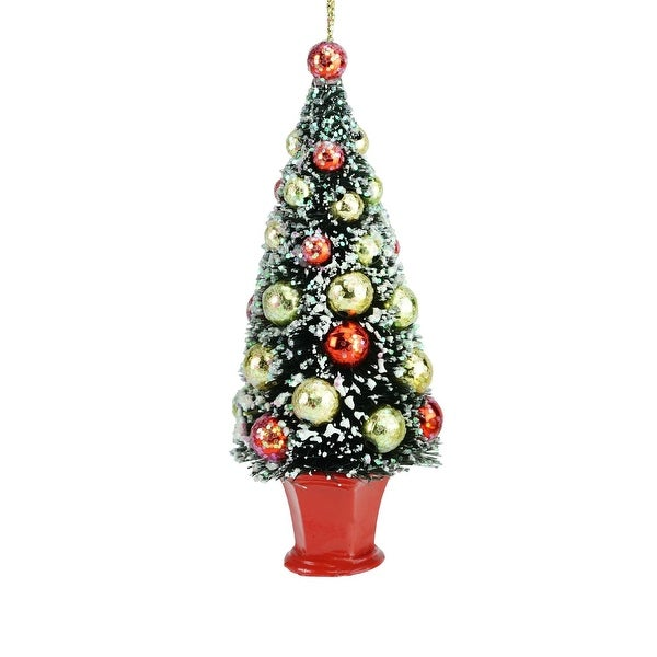 """5.5"""" Holiday Moments Bottle Brush Christmas Tree in Red Pot Christmas Ornament"""