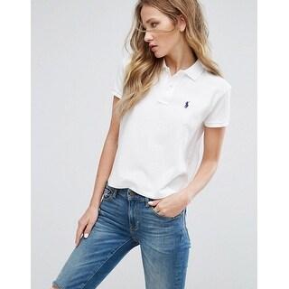 Polo Ralph Lauren Drapey Mesh Cropped Polo Top, White, Size M