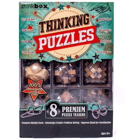 BoxThink Great Brain Challenge 8-Pack Games for Adults & Kids - Brown - 3.16 pounds