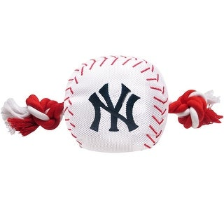MLB New York Yankees Baseball Rope Toy for Dogs. - Pet Squeaking Sports Toy