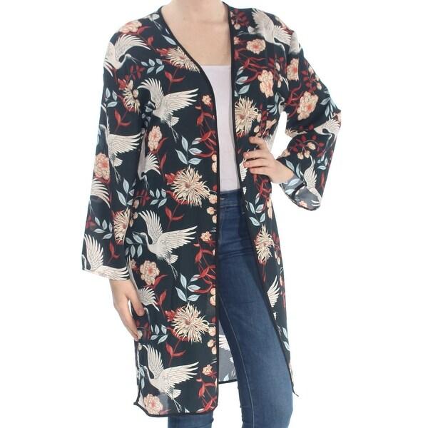 NY COLLECTION Womens Black Floral Crane Open Front Kimono Kimono Sleeve Open Cardigan Top Size: M
