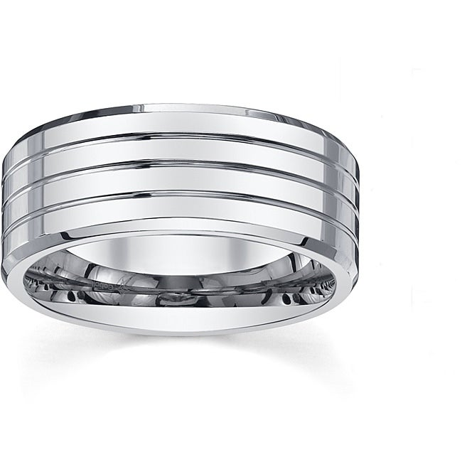 Mens Lattice Sterling Silver Band 10mm width Contemporary Ring for him DA269