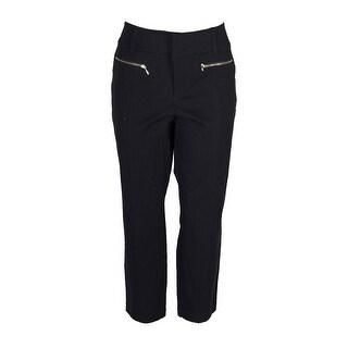 Inc International Concepts Black Straight-Leg Cropped Zipper-Pocket Pants 4