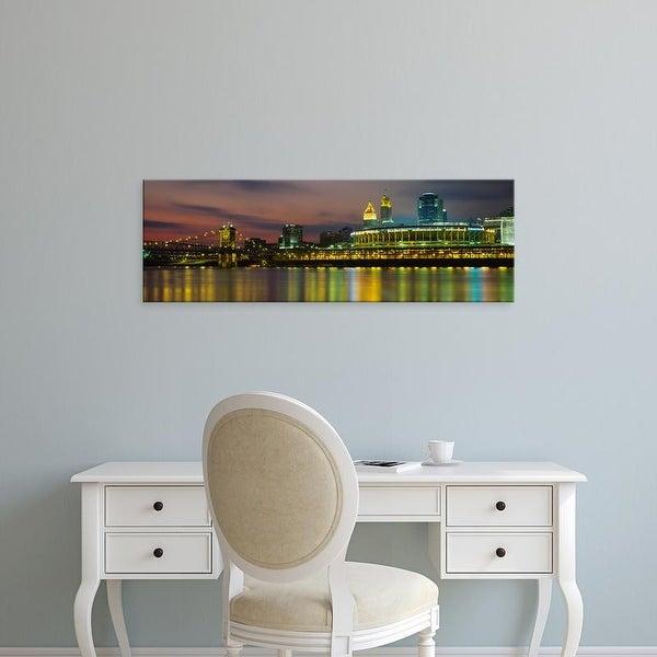 Easy Art Prints Panoramic Images's 'Buildings lit up at night, Cincinnati, Hamilton County, Ohio, USA' Canvas Art