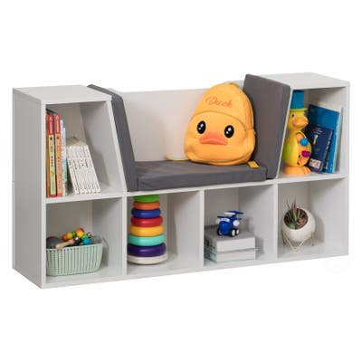 Modern Bookshelf with Storage Space and Gray Cushioned Reading Nook
