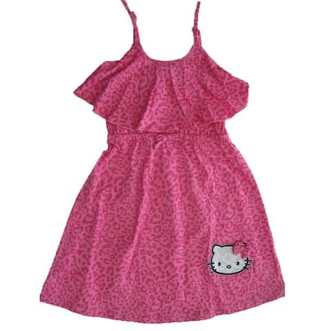 933c8e510 Hello Kitty Little Girls Fuchsia Spotted Bow Glittery Applique Dress 4-6X