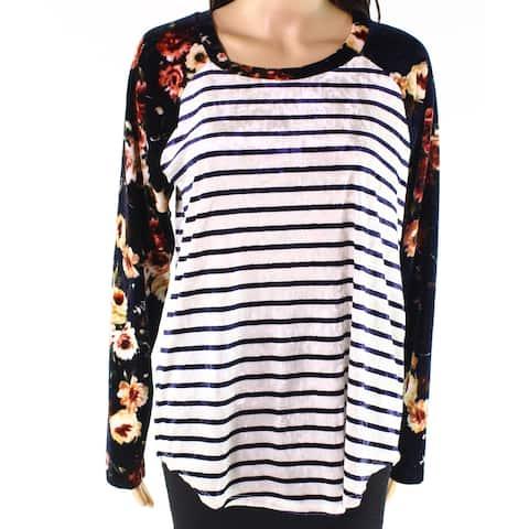 Moa Moa Blue White Womens Size Large L Mix-Print Velour Knit Top