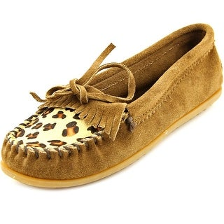 Minnetonka Lily Trapper Women Round Toe Leather Brown Slipper
