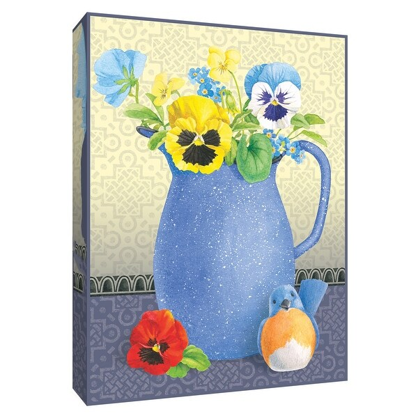 """PTM Images 9-154717 PTM Canvas Collection 10"""" x 8"""" - """"Blue Pansy II"""" Giclee Birds Art Print on Canvas"""