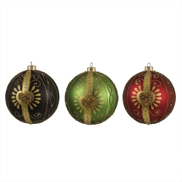 "3ct Earth Tone Bead & Glitter Shatterproof Christmas Ball Ornaments 4.75"" 120mm"
