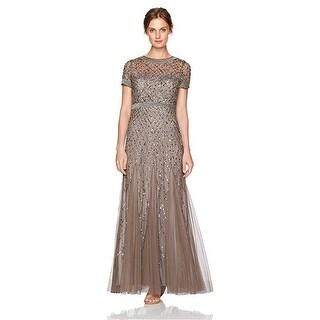 Adrianna Papell Women's Dress Short-Sleeve Beaded Mesh Gown