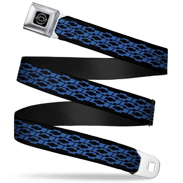 Chevy Bowties 3 Row Black Blue Webbing Seatbelt Belt Fashion Belt