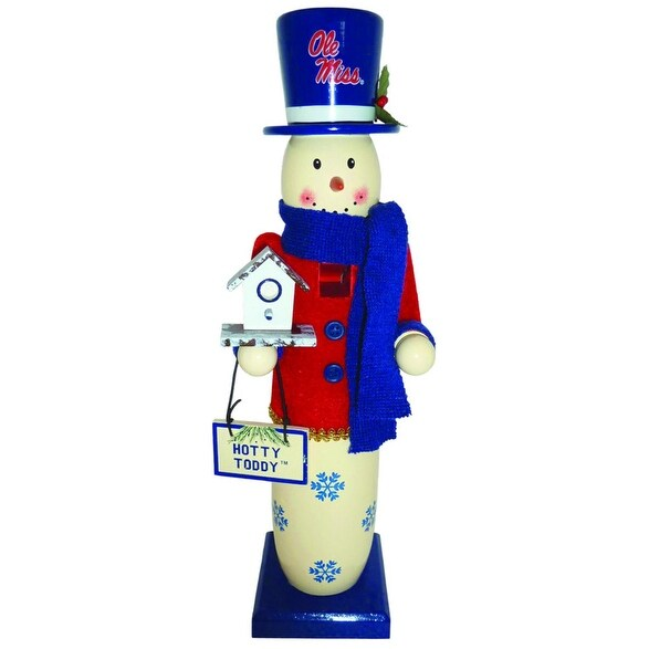 NCAA University of Mississippi Rebels Wood Snowman Christmas Table Top Figure - BLue