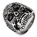 Men's Stainless Steel Day of the Dead Antiqued Finish Ring - Sizes 9-13 - Thumbnail 0