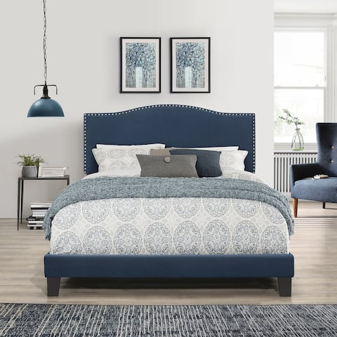 Porch & Den Olney Blue Velvet Upholstered Bed