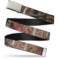 Blank Chrome Buckle Mossy Oak Break Up Infinity Webbing Web Belt