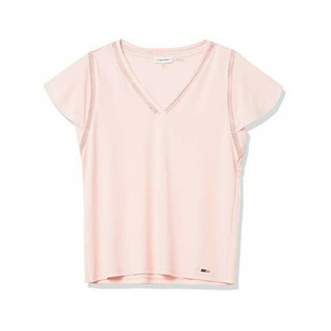 CALVIN KLEIN Womens Pink Solid Short Sleeve V Neck Top Size XL