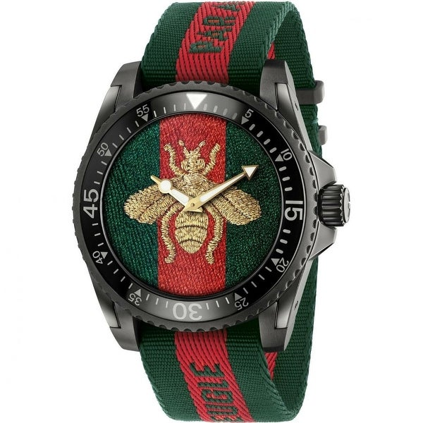 Gucci Men's YA136216 'Dive' Two-Tone Fabric Watch - Multi. Opens flyout.