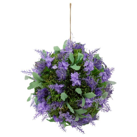 """7"""" Purple and Green Floral Inspired Hanging Foliage Ball"""