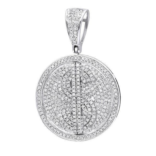 Shop Mens Dollar Sign Medallion Round Diamond Pendant 1 65ctw In 10k Gold With Cable Chain By Luxurman Overstock 31871767 White