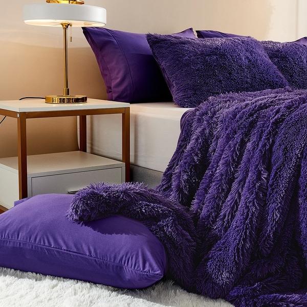 FUR ACCENTS Faux Fur Bedspread  Comforter  Throw Blanket  Black  Shaggy Mink