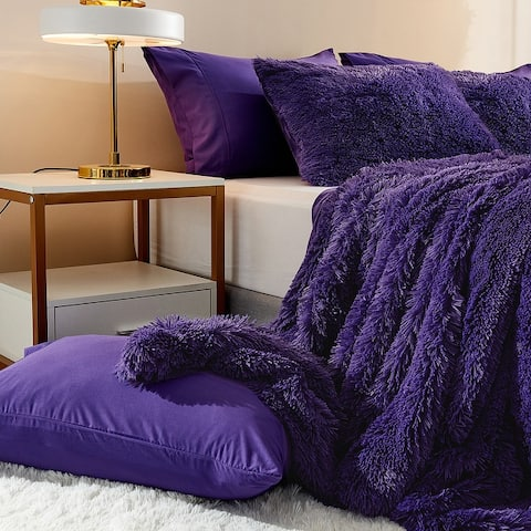 Plush Fluffy Duvet Cover Shaggy Crystal Velvet Cover For Comforter