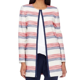 Tahari By ASL White Ivory Red Blue Women Size 6 Braided Trim Jacket