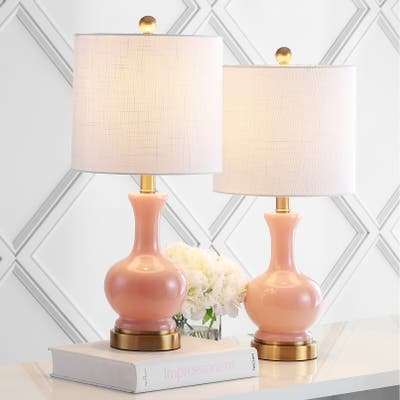 """Cox 22"""" Metal/Glass LED Table Lamp, Light Coral (Set of 2) by JONATHAN Y"""