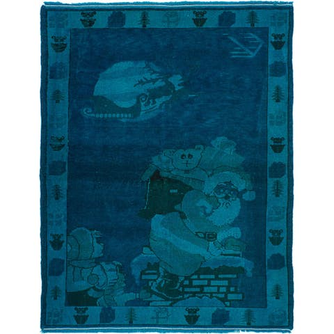 ECARPETGALLERY Hand-knotted Color Transition Cyan, Navy Blue Wool Rug - 3'11 x 5'7
