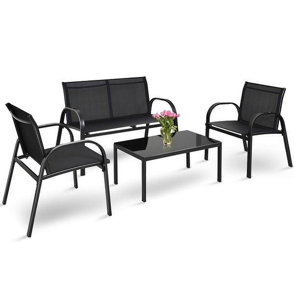 Costway 4 PCS Patio Furniture Set Sofa Coffee Table Steel Frame Garden Deck Black