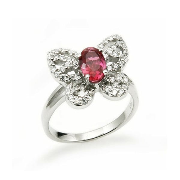 Butterfly Sterling Silver Ladies Ring w/ Cubic Zirconia