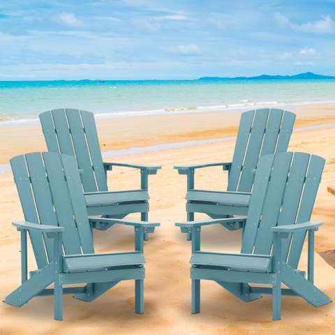 4 Sets Plastic Wood Adirondack Chairs Weather-Resistant by Bonosuki
