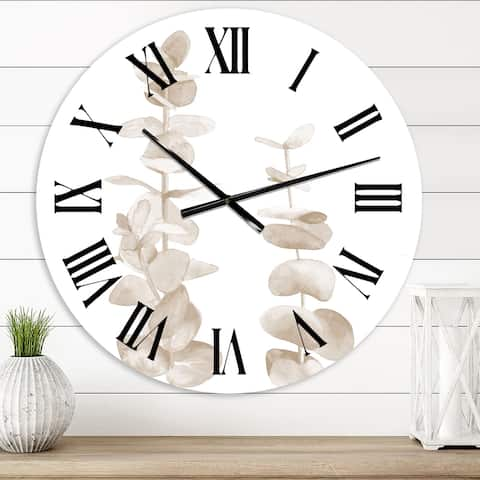 Designart 'Beige Eucalyptus Branches On White' Traditional wall clock