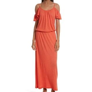 Joie Orange Womens Size Medium M Cold-Shoulder Blouson Maxi Dress