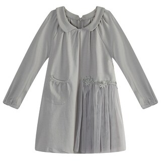 Richie House Little Girls Light Grey Lace Mesh Fabric Long Top 3-7
