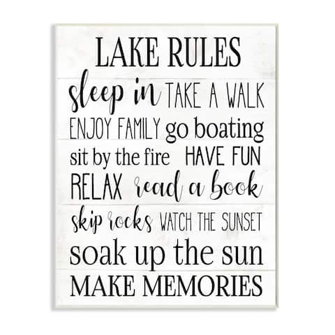 Stupell Industries Motivational Lake Rules Sign Text Styles Black White Wood Wall Art