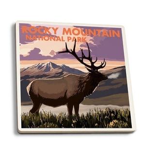 Rocky Mountain Park CO - Elk & Sunset - LP Artwork (Set of 4 Ceramic Coasters)