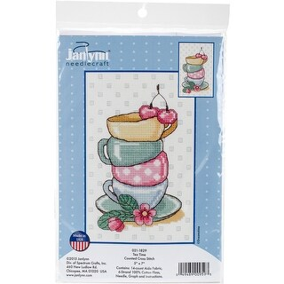 "Tea Time Counted Cross Stitch Kit-5""X7"" 14 Count"