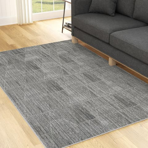 Brookside Modern Low Pile Geometric Abstract Rug, Gray and Cream