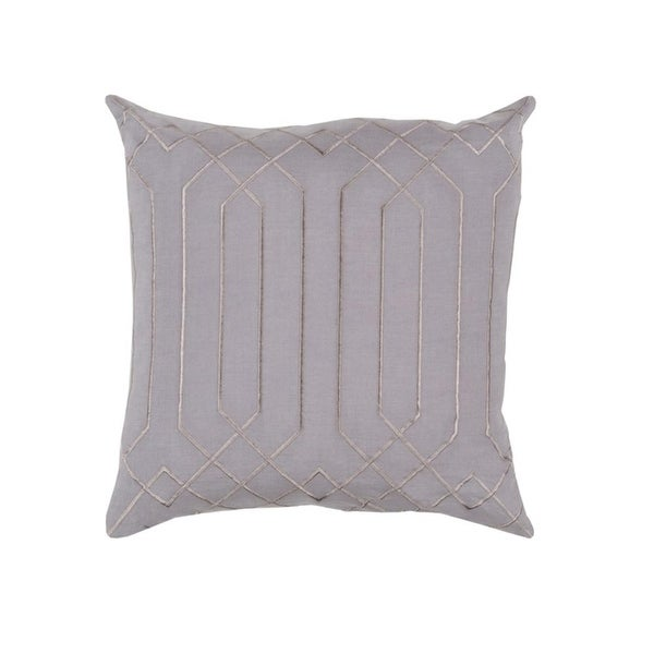 "18"" Mirror Style Lavender Gray and Bisque Decorative Throw Pillow - Down Filler"
