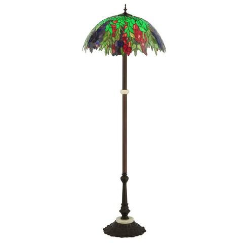 "Meyda Tiffany 122380 63"" H Honey Locust Floor Lamp - blue burgundy green"