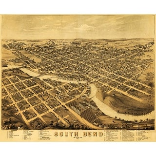 South Bend, Indiana - (1874) - Panoramic Map (Playing Card Deck - 52 Card Poker Size with Jokers)