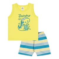 Baby Boy Outfit Infant Tank Top and Striped Shorts Set Pulla Bulla 3-12 Months