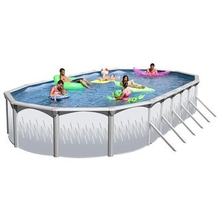 Ridge View Oval Above Ground Swimming Pool Package 30 ft. x 15 ft. x 52 in.