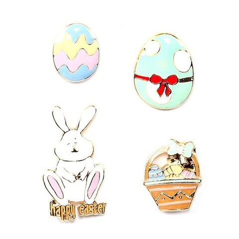 Easter Bunny Inspired 4 Piece Brooch Set