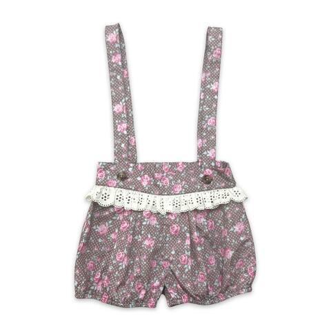 Mustard Pie Little Girls Pink Rustic Floral Print Suspender Bloomers
