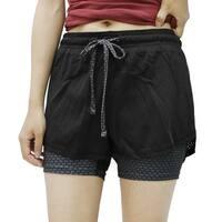Black Gray Size L Plaid Pattern Mesh Running Gym Yoga Fitness Sport Shorts Pants