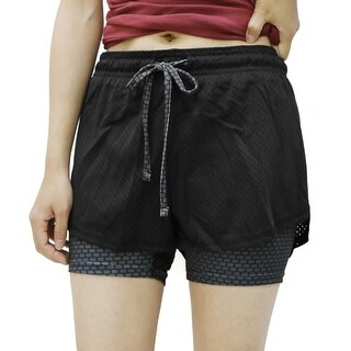 Black Gray Size L Plaid Pattern Mesh Running Gym Yoga Fitness Sport Shorts Pants