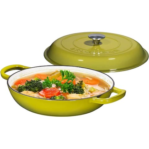Enameled Cast Iron Shallow Casserole Braiser Pan with Cover, 3.8-Quart